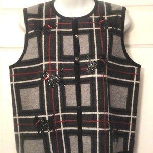TALBOTS 100% Wool Plaid Beads Button Vest sz S